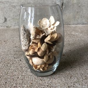 Glass vase with Pottery Barn potpourri